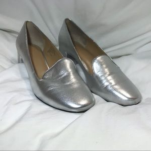 Banana Republic Silver Mid-Heel Smoking Slipper  8
